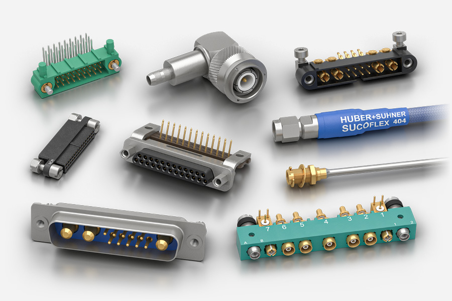 Rectangular and Radio Frequency RF electrical connectors and cables for aerospace industry