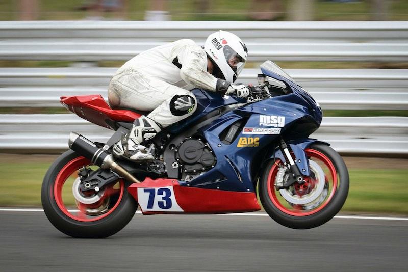 Sam Osborne riding the Suzuki GSX-R 600 motorbike