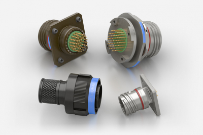 Souriau MIL-DTL-38999/D38999/8D/8LT double flange, integrated clinch nut or helicoils, and other derivative connectors