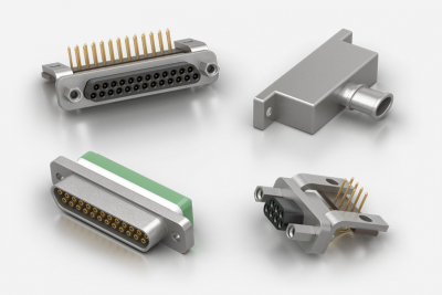 Souriau microComp high density rectangular D aluminium and composite connectors