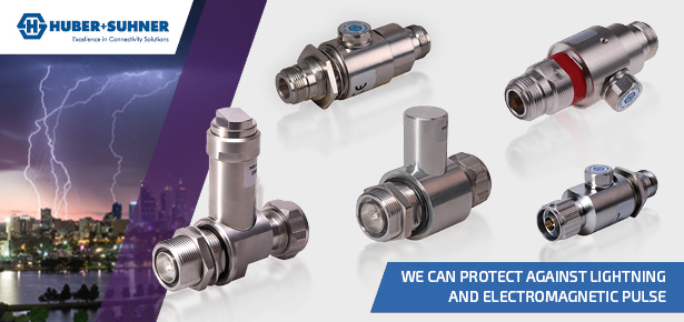 Huber+Suhner Lightning Protection Connectors and Devices from FC Lane Electronics