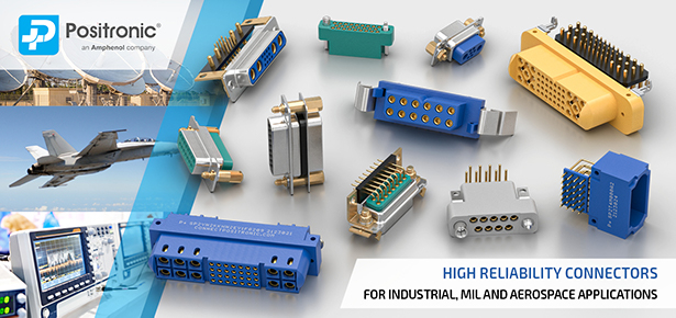 Positronic D-sub, Scorpion, rectangular and circular connectors for military, aerospace, medical and industrial applications