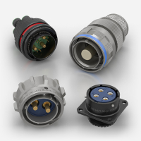 Power Circular AC/DC Connectors manufactured by Souriau and Weald Electronics